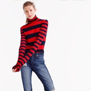 NWT J. CREW STRIPED TISSUE TURTLENECK~M